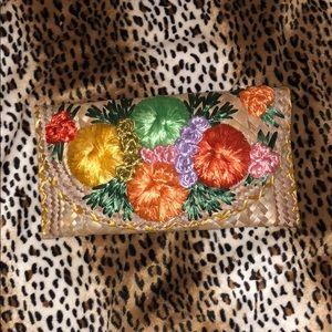 Wicker hawiii flower clutch green yellow orange